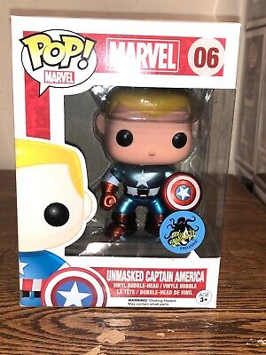 Funko POP! Marvel Unmasked Captain America Comikaze Exclusive Metallic #06