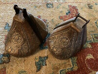 Wonderful Pair Of Antique Carved Wooden Stirrups Spain