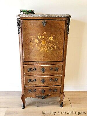 Vintage French Bombe Secretaire Desk Floral Marquetry Marble Louis Style PQ108