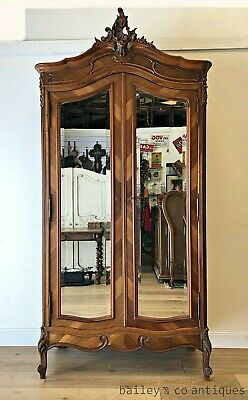 Antique French Armoire Walnut Louis Style Mirrored Wide Bevels - RF107a