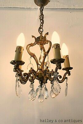 Antique French Parisian Cage Chandelier Brass & Crystals - RF536