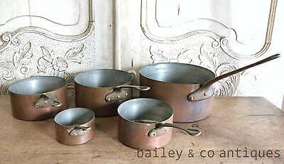 Antique French Set 5 Copper Saucepans Iron Handles Stamped & Lined - RF560