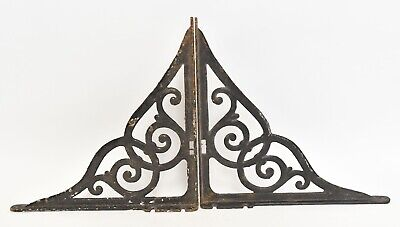 Pair Of Large Vintage Cast Iron Shelf Brackets Braces Architectural Salvage