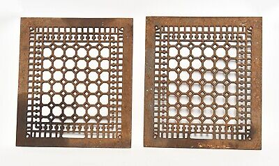Pair Of Large Vintage Cast Iron Grates 16 X14 Architectural Salvage