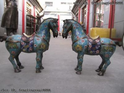 "17""China 100% Pure Bronze Handwork cloisonne royal Palace Lucky War Horse Pair"