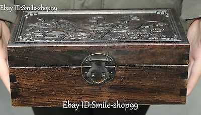 """10"""" Chinese Old Wood Belle Girl Moon Goddess Chang E Storage Box Case Casket"""
