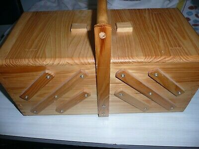 Large Wooden Cantilever Sewing Box with Handle 3 Tier Capacity