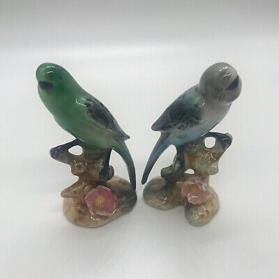 """Pair Of Vintage Porcelain """"Parakeets On Branch"""" Figurines, Made In Japan"""