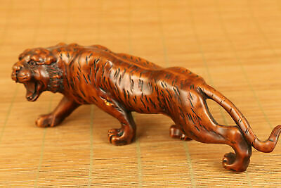 old boxwood hand carved tiger statue netsuke collectable decoration Figurines