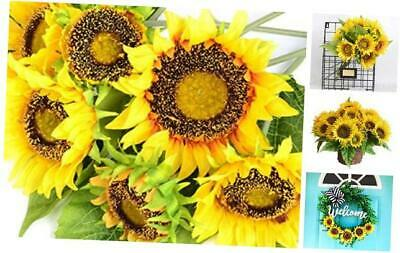 KINWELL Large Artificial Silk Sunflower Bouquet 7 Stems Fake Flowers Floral