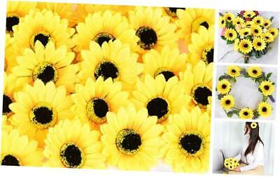 """KINWELL 50pcs Large Artificial Silk Yellow Sunflower Heads 4"""" Fabric Floral"""