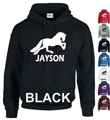 Personalised Hoodie Add Name Horse Riding Boys Girls Horse Jump Adults Kids Top