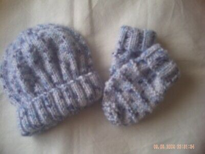 Hand Knitted Blue Hat And Mittens Size 0-3 Months.