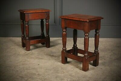 Pair of Solid Oak Joint Stools