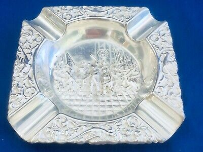 "Vtg Dutch Silver Plate Repousse Ashtray Soldiers Flags Guns & Birds 4 3/4"" Mih"