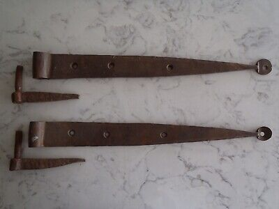 Vintage Blacksmith Rustic Wrought Iron Gate/Barn Strap Hinges and Pintles #2