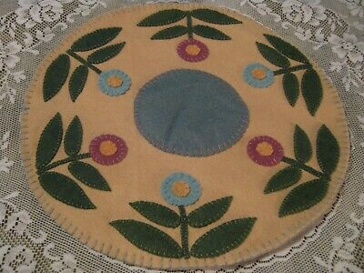 Primitive Wool Applique Round Layered Spring Posies Penny Rug Candle Mat Topper