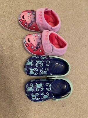 Two Pairs Of Girls Shoes Peppa Pig Slippers And Beach Croc's Size UK 6