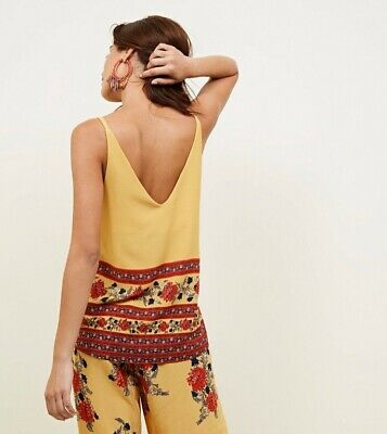 New Look two piece - Top & Culotte Trousers Mustard yellow boho floral 10/12/M