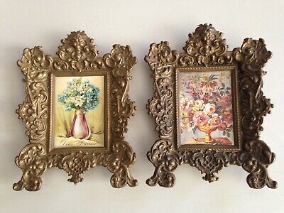 A Pair of Vintage French pressed Brass Picture Frames