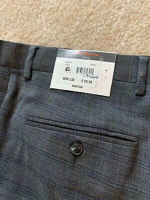 Men's Ben Sherman Tailor Trousers Gray and Blue 34x32 Pants. NWT! $89.99 Retail!