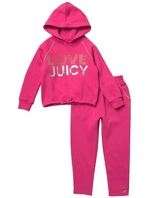 JUICY COUTURE girl pink fleece Hooded TRACKSUIT 2Y rhinestones & silver graphics