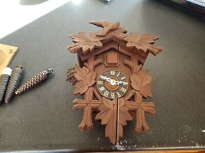 Vintage German Cuckoo Clock Carved Wood Ornate