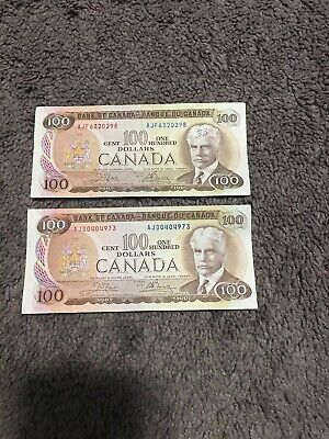 1975 - Canadian One Hundred Dollar Banknote, 100$ - Bank Of Canada (Lot 2x)