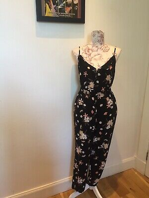 Black Floral Trousers & Vest Top Comfy Holiday Lounging Outfit Size 20