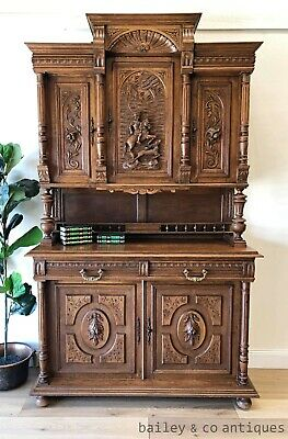 Antique French Hunting Sideboard Buffet Heavily Carved Oak  - PQ052