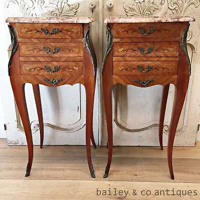 French Vintage Louis XV Style Marble Topped Side Drawers Bedsides - OF154