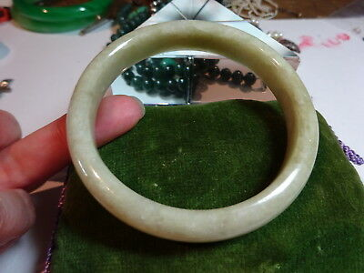Quality Vintage Chinese Natural Celadon Jade Hand carved Bangle II