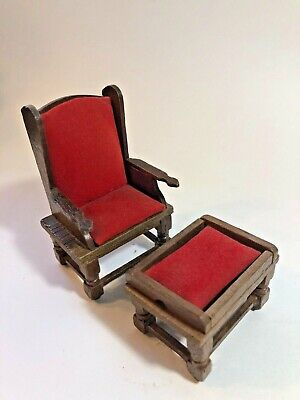 Vintage 1:12 Scale Dollhouse Wood Furniture Set - Side Sitting Chair & Ottoman