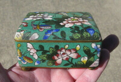 Antique Chinese enameled box on metal ball feet green butterflies 3.25x2.5 #1010