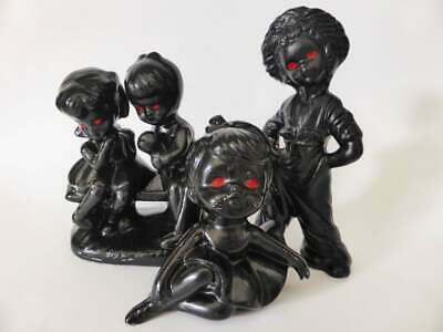 Collection of Creepy Black Vintage Figurines with Red Eyes, Set of 3, 1950's