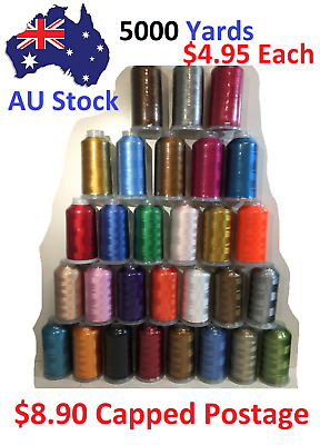 Embroidery Polyester Machine Thread spools 5000 yards each, Capped Postage