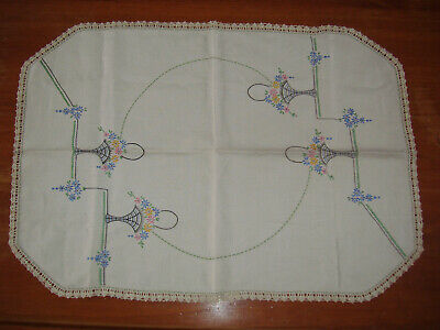 Vintage retro large embroidered tray cloth with crochet edging - flower baskets