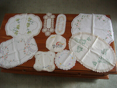 Vintage retro lot of 9 embroidered doilies & tray cloths with crochet edging.