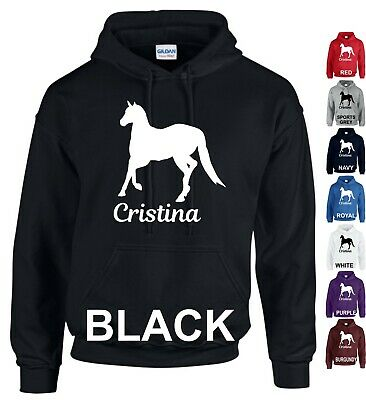Personalised Hoodie Horse Riding Love Boys & Girls Adults Kids Gift Jumper Tops