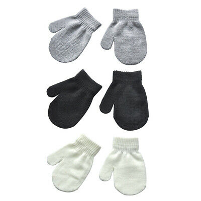 Toddler Baby Boys Girls Warm Knitted Gloves Full Finger Hand Mitten Hanging Rope