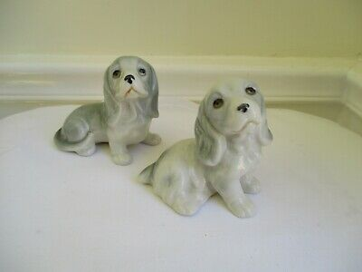 Two Lovely Small Grey Dog Collectables Porcelain Ceramic Figurines
