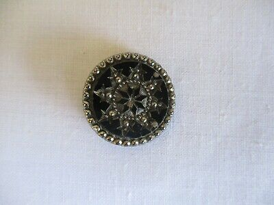 Beautiful Old Collectable Antique Black Star Cut  Glass Button FREEPOST