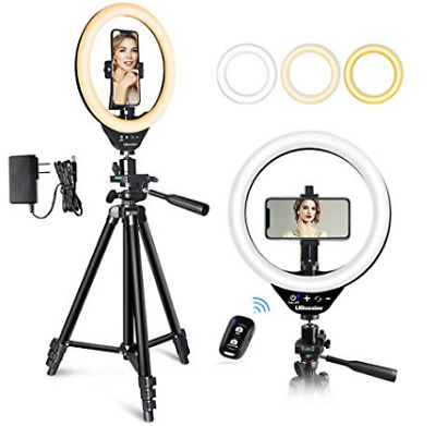 UBeesize 10'' LED Ring Light with Stand and Phone Holder, Selfie Halo Light for