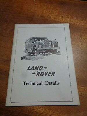LAND ROVER  1962 Technical Details Booklet