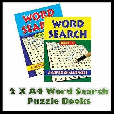 2 X A4 Pages Large Puzzle Book Print Word Search Books 272 Puzzles Size Trivia