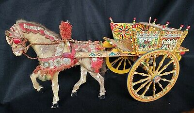 Vintage Wooden Sicilian Cart Horse Folk Art Horse Toy 30 Inches Long