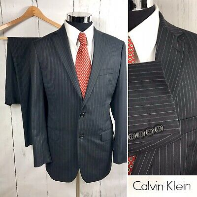 Calvin Klein Mens Dark Black Pinstripes Wool Blend Suit Size 40R Pants 34x30