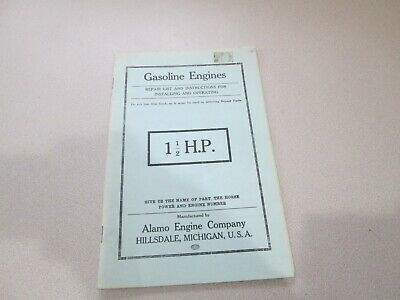 Alamo Company 1 1/2 HP Gas Engine Motor Parts List Operating Repair Reprint?