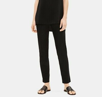 Eileen Fisher Sz PS Black System Washable Stretch Crepe Slim Ankle Pants EUC