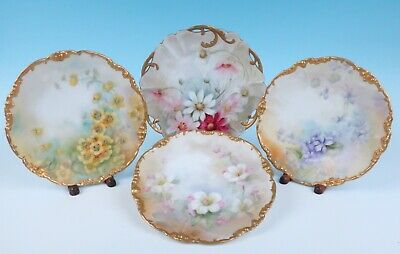 4 Antique Hand Painted Artist Signed Plates Limoges Gold Daisy Magnolia Poppies
